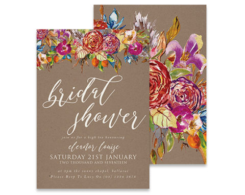 bridal shower stone floral invitation