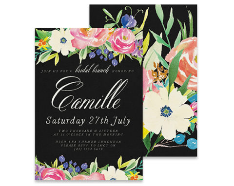 bold black bridal shower invitation