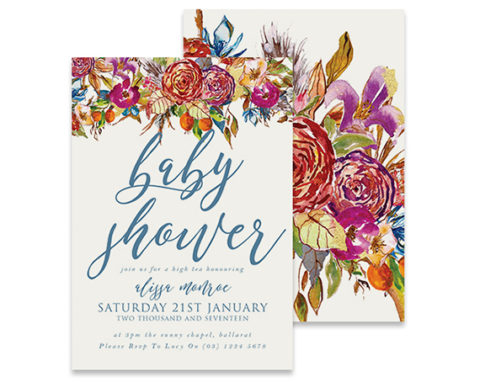 bridal shower white floral invitation