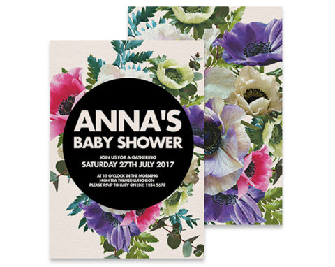 Spring flower baby shower invitation