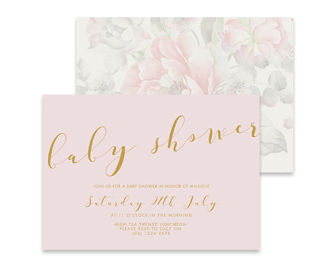 Faded flowers baby shower invitation