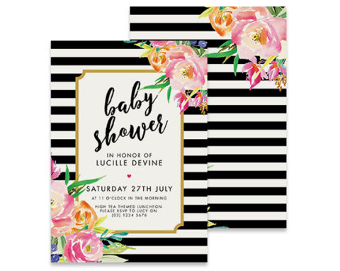 Black and white stripe baby shower invitation