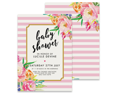 Pink and White stripe baby shower invitation