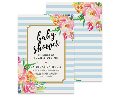 Blue and white stripe baby shower invitation