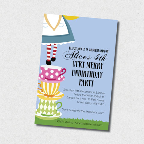 wonderland birthday invitation