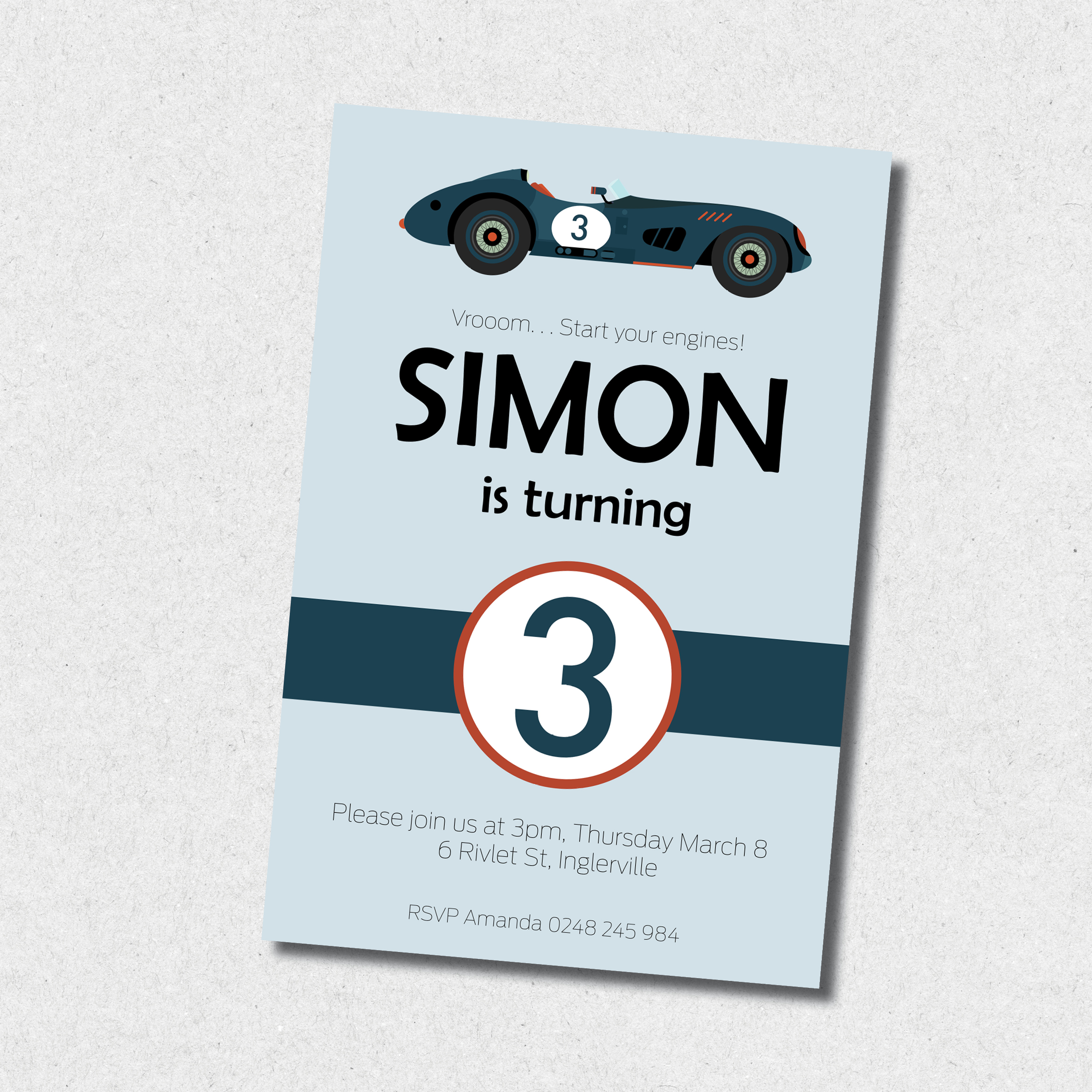 Blue Vintage Race Car Birthday Invitation
