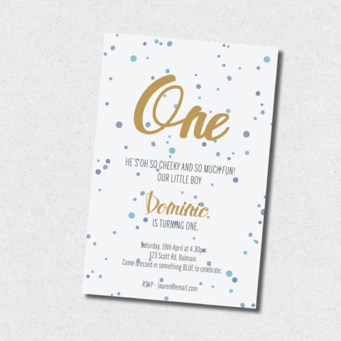 blue and gold birthday invitation