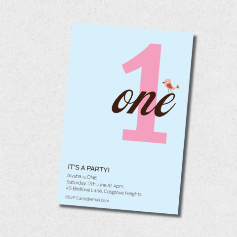 Girls Number 1 birthday Invitation