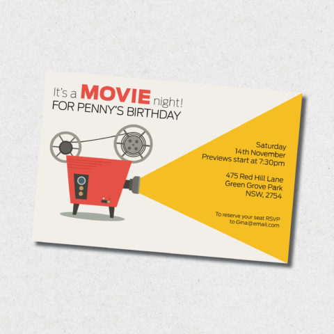 movie night birthday invitation