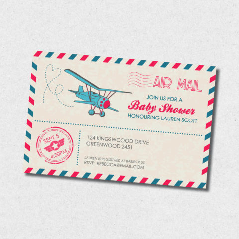 Air Mail Baby Shower Invitation