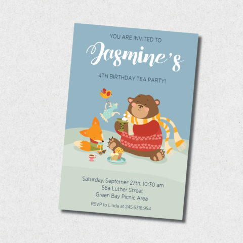 winter tea party birthday invitation