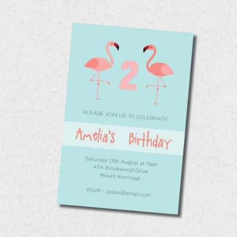 pink flamingo birthday invitation