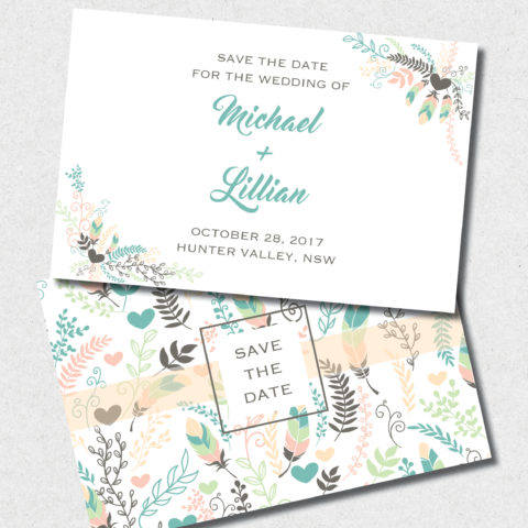 feather and floral save the date