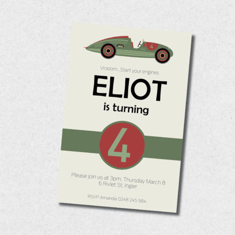 green vintage race car birthday invitation