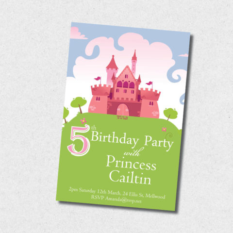 pink princess castle birthday invitation