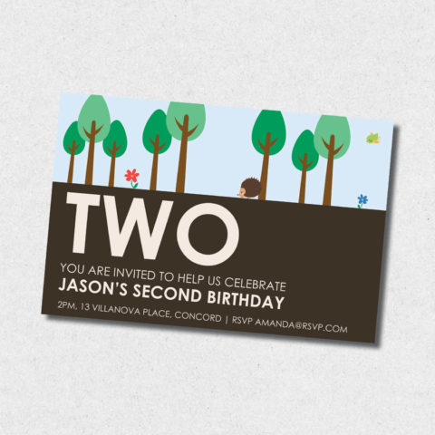 into the forest birthday invitation