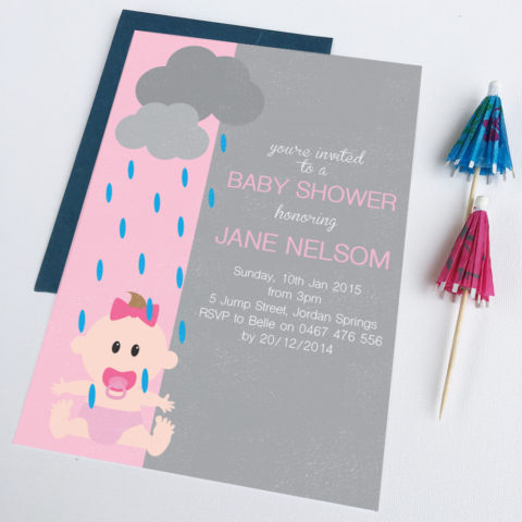 rainy day baby shower invitation